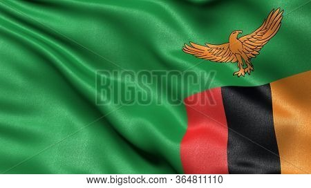 3D illustration of the flag of Zambia waving in the wind.