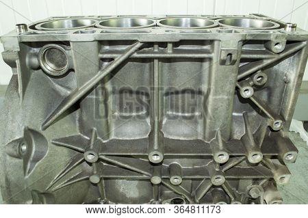 Aluminum Cylinder Block Of Automobile Internal Combustion Engine After Repair. Four-cylinder. Side V