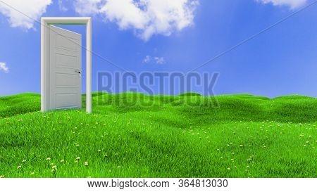 Open White Wooden Door On Green Flowery Hills Realistic Background 3d Rendering