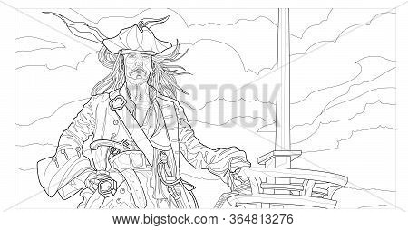 Pirate In The Sea Vector Line Art. Coloring Page For Adults. Outline Style Nature And People Illustr