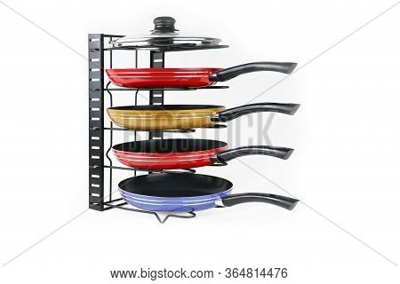 Cookware Holder With Pans In Kitchen Isolated White Background