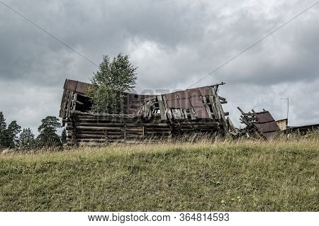 Rural Landscape Of A Ruined House In Grunge Style, Close-up