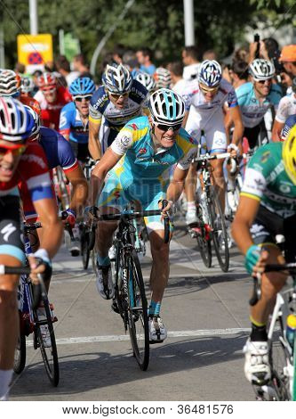 BARCELONA - AUG, 26: Astana Belgian cyclist Kevin Seeldraeyers rides with the pack during the Vuelta Ciclista a Espana cycling race in Barcelona on August 26, 2012