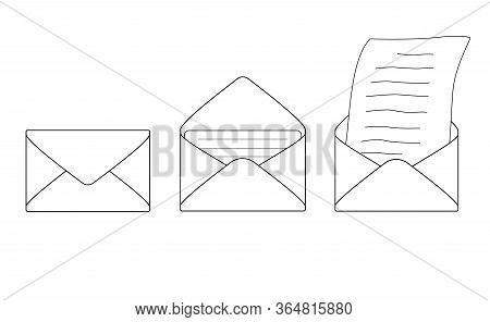 The Process Of Receiving A Message Is A Closed Envelope, An Open Envelope With A Letter, Taking Out