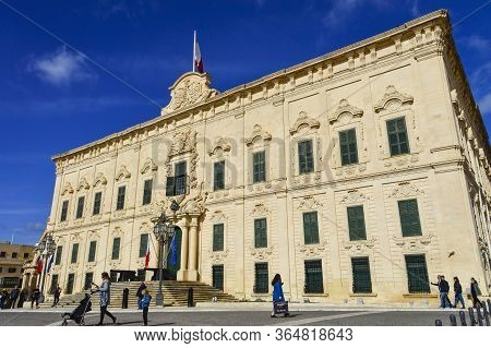 Valletta, Mala, Feb 28, 2020. Valletta Castille Palace In A Sunny Day