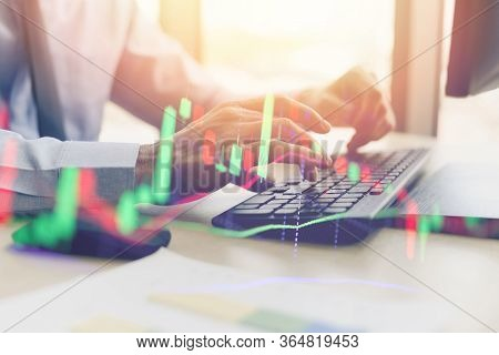 Close Up Of Typing Male Hand On Keyboard Concept / Businessman Investment Entrepreneur Trading Onlin