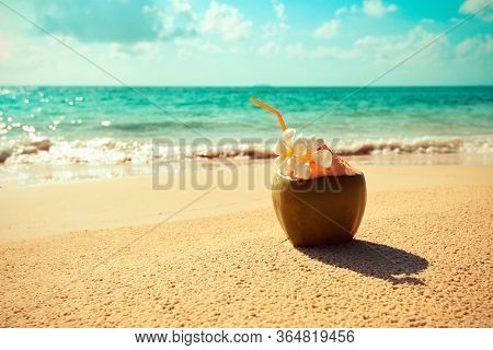 Fresh Coconut Juice Summer With Flower On Beach Sea In Hot Weather Ocean Landscape Nature Outdoor Va