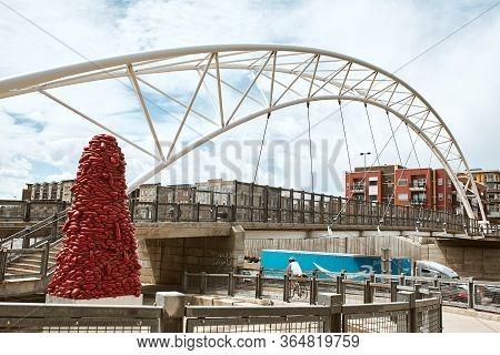 Denver, Colorado - May 1st, 2020:  Highland Bridge, Connecting The Lohi Neighborhood To Downtown Den