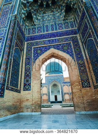 Ancient complex of Gur I Emir in the city of Samarkand at the early morning, Uzbekistan