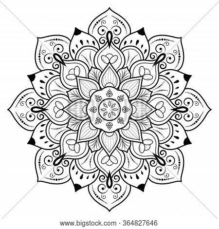 Circular Flower Mandala With Vintage Floral Style, Vector Mandala Oriental Pattern, Hand Drawn Decor