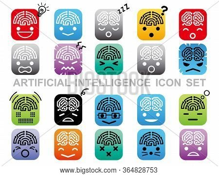 Artificial Intelligence Icon Set Isolated On A White Background. Vector Illustration.
