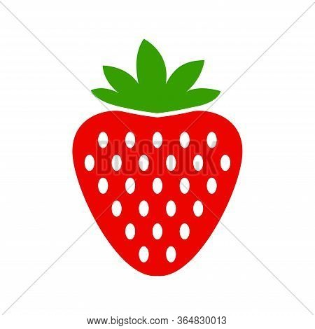 Strawberry Icon Vector Isolated On White Background. Garden Strawberry Fruit Or Strawberries Flat Co