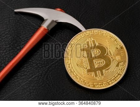 Bitcoin And Pickaxe, Gold Crypto Coin, Blockhain And Mining