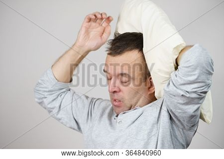 Man Sleepy Tired With Pillow On Grey
