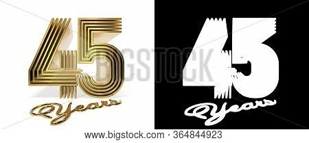Number 45 (number Forty-five) Anniversary Celebration Design With Five Parallel Lines On A White Bac