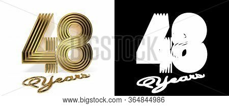 Number 48 (number Forty-eight) Anniversary Celebration Design With Five Parallel Lines On A White Ba