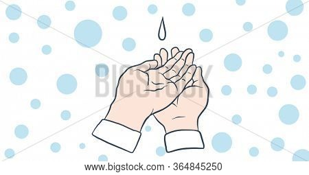 Digital illustration of a drop of soap dripping on hands. Public health pandemic coronavirus Covid 19 social distancing and self isolation in quarantine lockdown concept digitally generated image