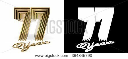 Number 77 (number Seventy-seven) Anniversary Celebration Design With Five Parallel Lines On A White