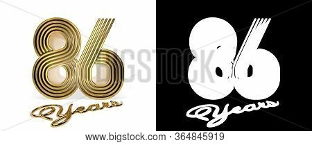 Number 86 (number Eighty-six) Anniversary Celebration Design With Five Parallel Lines On A White Bac