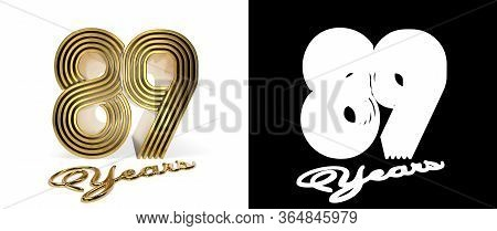 Number 89 (number Eighty-nine) Anniversary Celebration Design With Five Parallel Lines On A White Ba