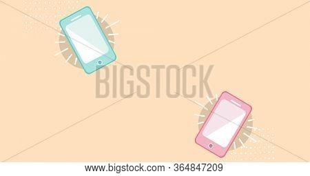 Digital illustration of smartphones ringing. Public health pandemic coronavirus Covid 19 social distancing and self isolation in quarantine lockdown concept digitally generated image