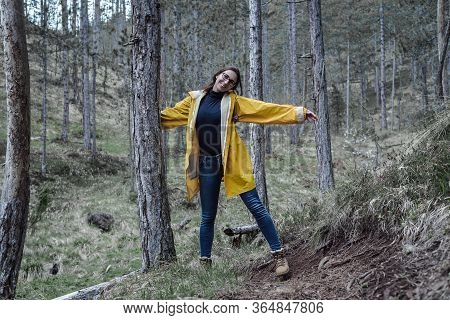 Beautiful Woman Smiling In Nature. Happy People Lifestyle. Woman Smiling In Forest. Nature Lifestyle