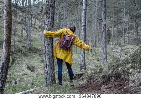 Beautiful Woman Enjoying In Nature. Happy People Lifestyle. Woman Enjoying In Forest. Nature Lifesty