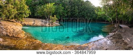 Emerald Pool Is Unseen Pool In Mangrove Forest At Krabi In Thailand.destination And Summer Concept.