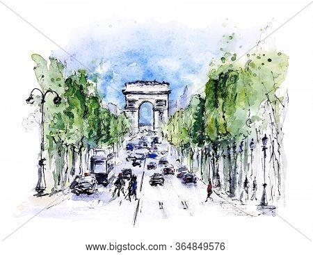 Champs-Élysées And  Arc De Triomphe, Paris, France. Watercolor And Ink Loose Sketch On White Backgro