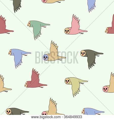 Flock Of Owl Birds Flying. Vector Outline And Black Image Silhouette On Blue Seamless Pattern Backgr