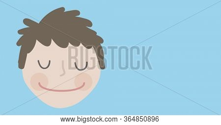 Digital illustration of a man smiling with his eyes closed. Public health pandemic coronavirus Covid 19 social distancing self isolation in quarantine lockdown concept digitally generated image