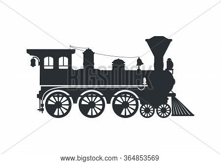Vintage Silhouette Steam Locomotive In Retro Style. Vector Illustration