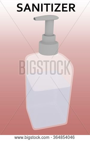 3d Illustration Of Hand Sanitizer Under Sanitizer Title, Isolated Over Red Gradient.
