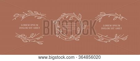 Set Of A Floral Framework With A Place For Your Text Vector Illustration. Branches With Leaves Desig