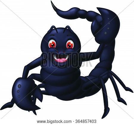 Black Scorpion Cartoon Isolated For Your Design