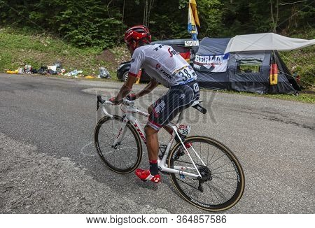 Le Bourget-du-lac, France - July 9, 2017: The Colombian Cyclists Jarlinson Pantano Of Trek-segafredo