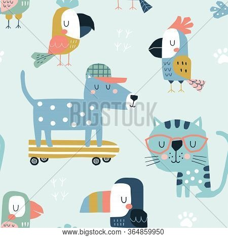 Seamless Childish Pattern With Cute Parrots, Toucans, Cat And Dog. Scandinavian Style Kids Texture F