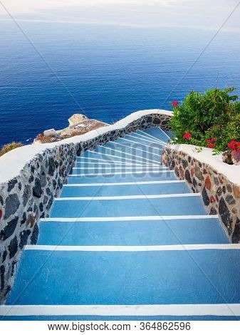 Stone Steps, Road To Sea. Santorini Island View. Cyclades, Greece.