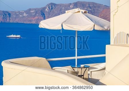 Amazing Sea View On Santorini Island From Terrace. Santorini, Cyclades, Greece.