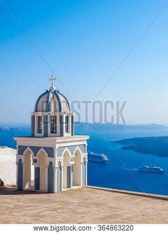 Traditional Santorini Island Architecture Of Church And Amazing Sea View. Santorini, Cyclades, Greec