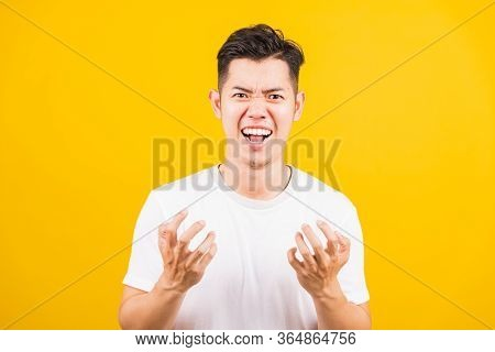Portrait Aaian Handsome Young Man Standing Wearing White T-shirt He Expressions Irate, Angry Face Sc