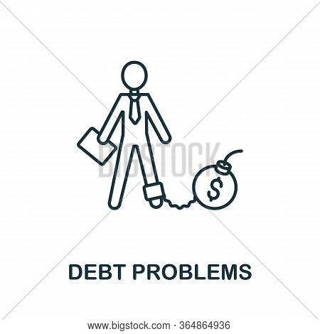 Debt Problems Icon From Global Business Collection. Simple Line Debt Problems Icon For Templates, We
