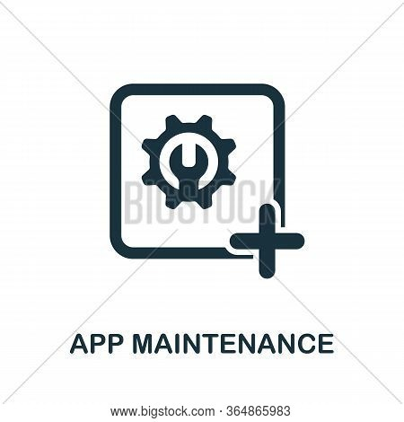 App Maintenance Icon From Mobile App Development Collection. Simple Line App Maintenance Icon For Te