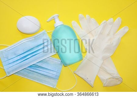 Isolated Medical, Protective Mask, Anti Bacterial Soap, Sanitizer Bottle And Medical, Latext Gloves
