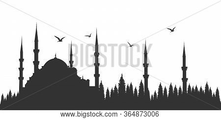 Silhouette Of Istanbul Mosque. Sultan Ahmet Mosque. Vector Drawing.