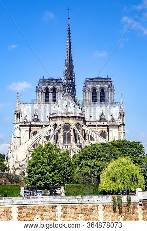 France, Paris, May, 20, 2014 - Notre-dame De Paris Or Cathedral Of Our Lady Of Paris Viewed From Riv