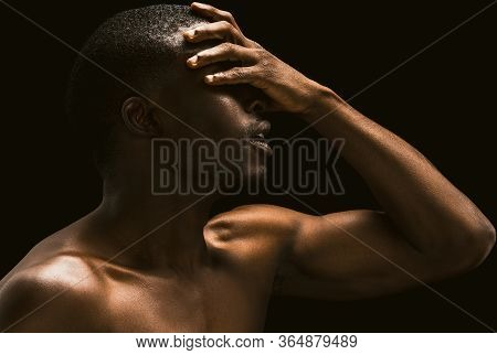 African Facepalm. Sexy African Man Covered His Face With His Hand, Profile View Of A Naked African A