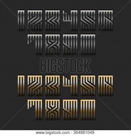Set Of Metallic Numbers Monogram For Modern Trendy Typography, Linear Calligraphy Mathematics Symbol