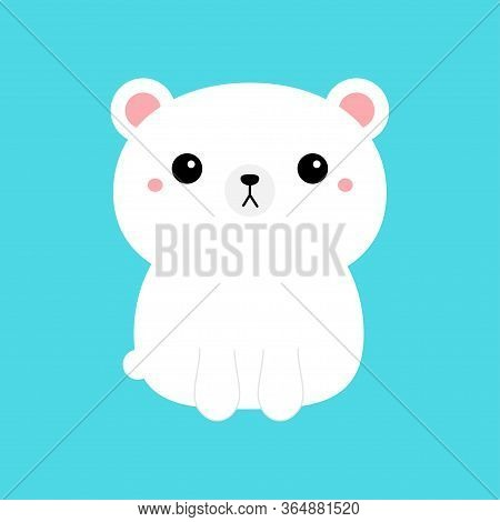 White Polar Bear Cub Icon. Cute Funny Head Face. Kawaii Cartoon Character. Pink Cheeks. Happy Valent