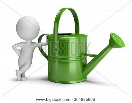 3d Small Person Leaned On A Big Green Watering Can. 3d Image. White Background.
